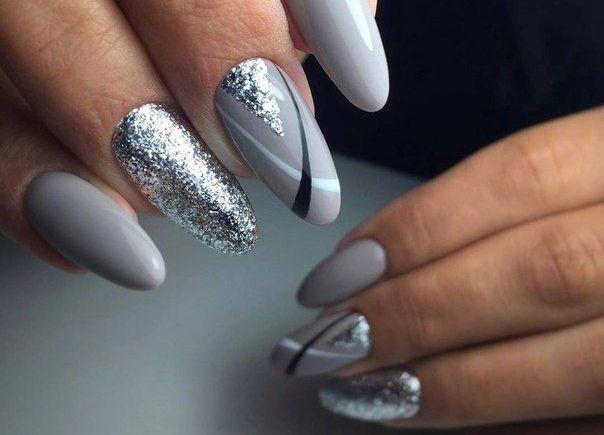 Серый маникюр с серебром - стильно и красиво. Серебристый..