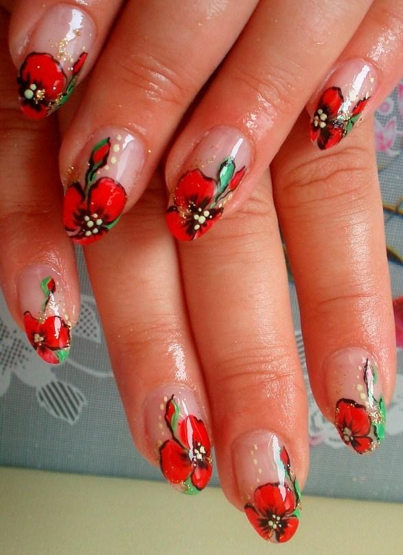 рисунок маков на ногтях