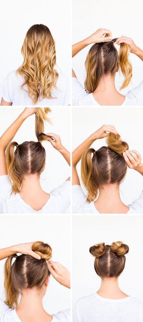 Два пучка на голове по бокам: как сделать 2 шишки, гульки ... | 1024x455
