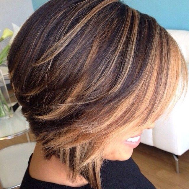 колорирование на удлиненное каре темные волосы