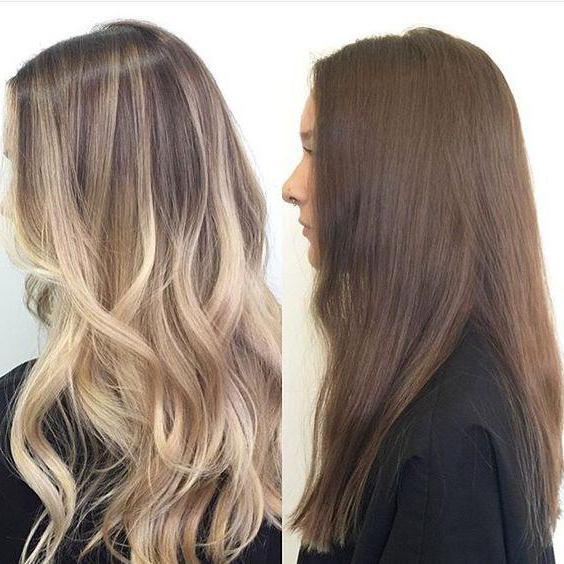 Балаяж на длинных темно-русых волосах.