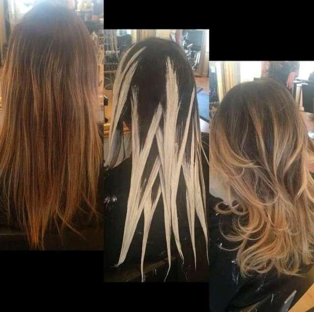 Волосы до, во время и после окрашивания.