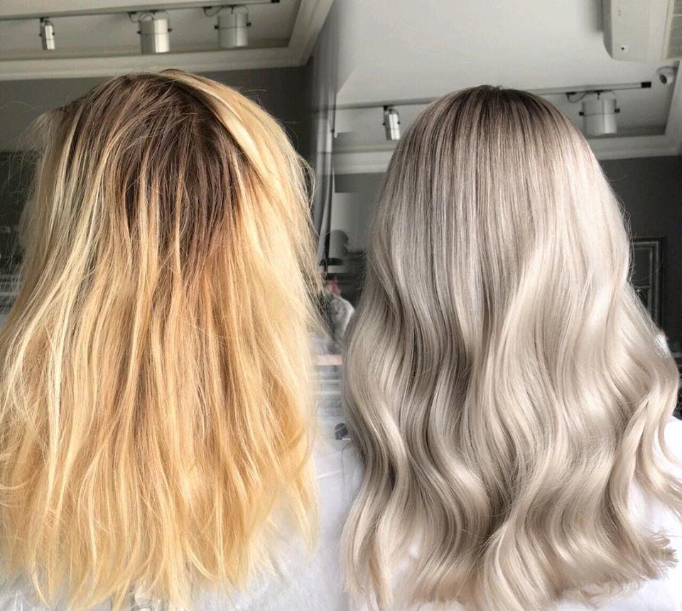 Тонирование волос в холодный блонд